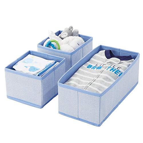 mDesign Juego de 3 cajas organizadoras – Cestas de tela transpirables con diseño de espiga para pañales, baberos, etc. – Versátiles organizadores de cajones para habitación infantil – azul