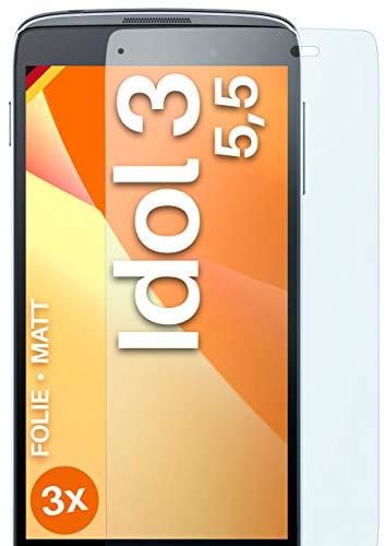 moex Schutzfolie matt kompatibel mit Alcatel OneTouch Idol 3 5.5 - Folie gegen Reflexionen, Anti Reflex Bildschirmschutz, Matte Bildschirmfolie - 3X Stück