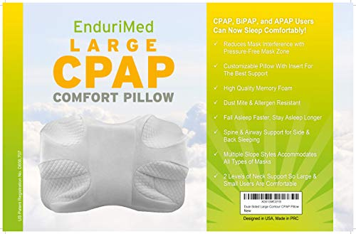 EnduriMed CPAP Pillow - Memory Foam Contour Design Reduces Face Mask Pressure & Air Leaks - 2 Head Rests for Max Comfort - Removable Foam Insert to Adjust Thickness - Stomach, Back, & Side Sleepers