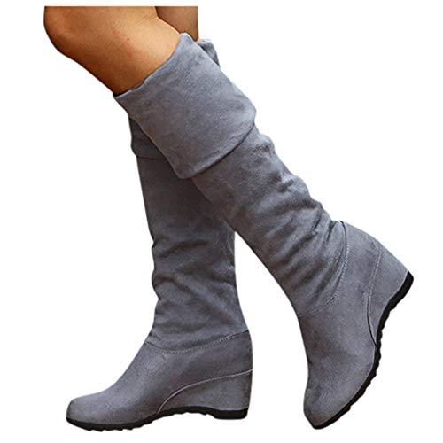 Overknee Stiefel Damen Sockenstiefel Winterstiefel mit Blockabsatz, Frauen Sockenstiefel High Heels Lang Boots Elegante Schuhe Bequem Winter Warme Damenschuhe Celucke (Grau, 43 EU)