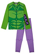 Marvel Pijama Niño, Pijama Niño Invierno El Increible Hulk, Conjunto 2 Piezas Camiseta Manga Larga y Pantalon, Regalos para Niños Edad 18 Meses-14 Años (Multi, 9-10 Años)