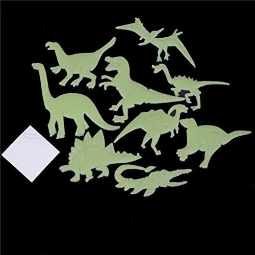 PMSMT 9 unids/Pack Dinosaurio Que Brilla en la Oscuridad Pegatinas de Pared Luminosa decoración del hogar calcomanía bebé niños habitación Pegatinas Fluorescentes