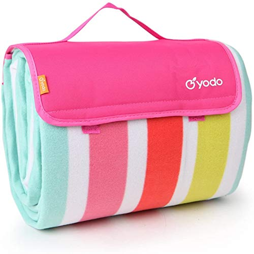 """Yodo Extra Large Outdoor Picnic Blanket Tote with Waterproof Backing 79"""" x 79"""",Spring Summer Rose Stripe"""