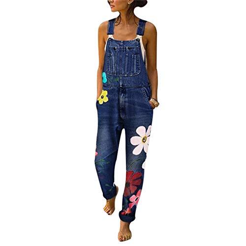Puimentiua Mono Vaqueros para Mujer Pantalones con Tirante Denim Recto Delgado Casual Jeans de Mezclilla Impresión de Flores