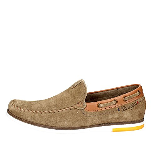 Wrangler Mens Sharky Nubuck Leather Memory Foam Slip on Loafer Shoes WM181850-Khaki-UK 7 (EU 41)