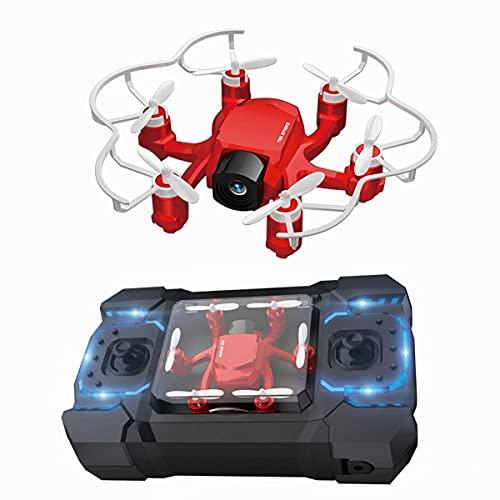 XIAOKEKE Mini Drone con Telecamera HD WiFi FPV RC Quadricottero 2.4Ghz Giroscopio A 6 Assi Mantenere L'altitudine, modalità Senza Testa per Bambini Principianti,Rosso