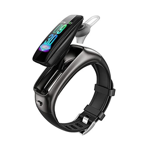 HUYAYUN Reloj Inteligente, Pantalla táctil a Color de Alta definición de 0,96 Pulgadas, podómetro Deportivo Dos en uno con Auriculares con música Bluetooth, Pulsera de Llamada de Asistente de Voz