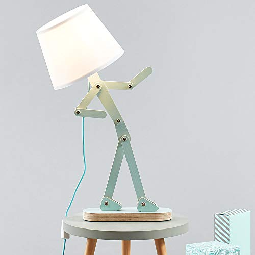 HROOME Cool Novelty Kids Desk Lamp Swing Arm Wood Adjustable Fun Table Lamp Bedside Light for Reading/Girls/Boys/Bedrooms/Living Room/Office - Pea Green, Bulb Included
