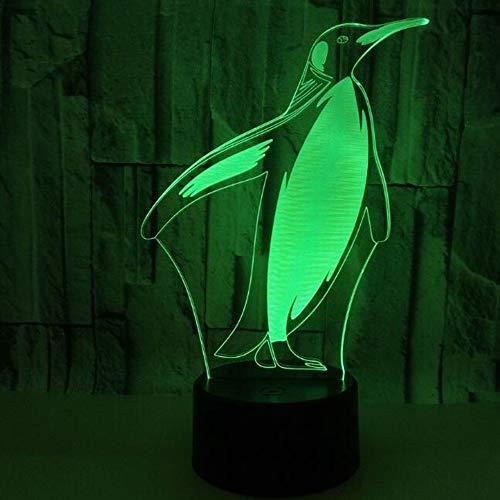 HHR 3D nachtlampje, pinguïn kleurrijke touch-afstandsbediening acryl led zichtbaar licht 3D illusie nachtlampje atmosfeer, 3D kleine tafellamp baby slaapkamer decoratie geschenk Touch.