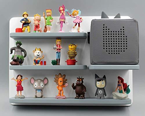 Kinder Regal für Toniebox Musikbox - Geeignet für Tonie Tonies ® - zum Aufhängen weiß grau magnetisch - als Geschenk - tolle Geschenkidee zum Spielen und Sammeln…