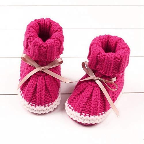 Youpin Unisex Babyschuhe für Jungen und Mädchen, Neugeborene, Winterschuhe, warm, für Kleinkinder, Kinderbett, gestrickte Wolle, für den Boden, Lauflernschuhe (Alter 7 bis 12 Monate, Farbe: MR)