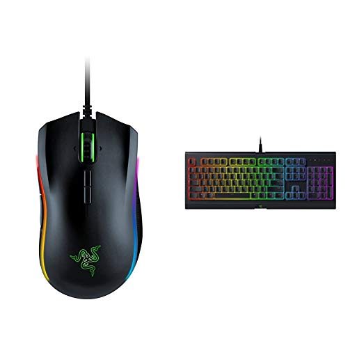 Razer Mamba Elite Wired Gaming Mouse & Cynosa Chroma Gaming Keyboard: 168 Individually Backlit RGB Keys - Spill-Resistant Design - Programmable Macro Functionality - Quiet & Cushioned