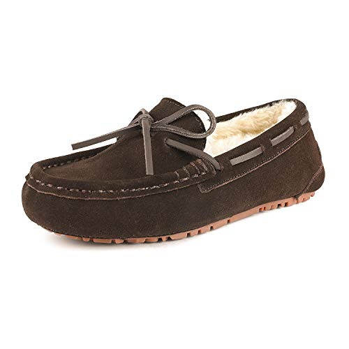 DREAM PAIRS Women's Auzy-02 Brown Faux Fur Moccasin Slippers Size 6.5-7 B(M) US