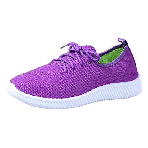MRULIC Damen Basic Round Toe Breathable Loafers Weiche Freizeit Laufschuhe Bequeme Einfarbige Flache Schuhe zum Schnüren(Violett,41 EU)