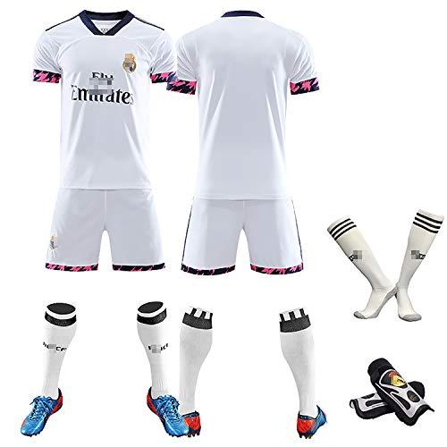 RVRE Uniformes de fútbol para Hombres y niños Adultos, Temporada 20-21, Bale No. 11 Nacho No. 6, Uniforme de Entrenamiento de fútbol, Uniforme español de fútbol Local-BlankDIY-S