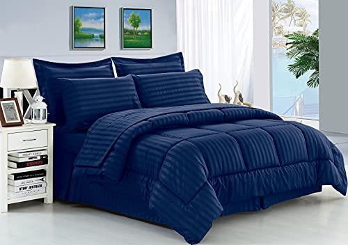 Elegant Comfort Wrinkle Resistant - Silky Soft Dobby Stripe Bed-in-a-Bag 8-Piece Comforter Set -Hypoallergenic - King Navy Blue