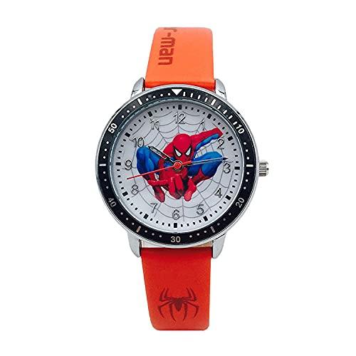GJPSXTY Niño HCGS Reloj para niños Spider-Man Hulk Iron Man Reloj de Cuarzo de Dibujos Animados Reloj de Cuarzo Impermeable para Estudiantes Regalo de cumpleaños A