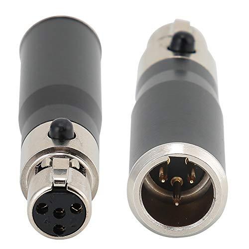 Vbestlife 2 unids chapado en oro mini XLR 3Pin macho a mini XLR 4Pin hembra aleación de zinc carcasa adaptador de audio conector para SLR, cámaras profesionales, micrófono equipo de audio