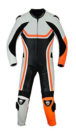 German Wear Tuta da motociclista in vera pelle bovina, fluorescente, colore: arancione, taglia: 60