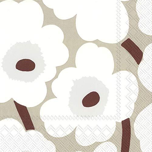 IHR Marimekko UNIKKO - Tovaglioli di carta di lino, 33 cm, quadrati, 3 strati, confezione da 20