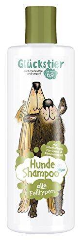 Glückstier Hundeshampoo, 250 ml, rückfettendes Shampoo für alle Hunderassen, für glänzendes Fell & bessere Kämmbarkeit, angepasster pH-Wert, 100 {b7908914ad08322b0aebf8819cec92c6866191b54fda5efbfe317630af21df44} vegan & tierleidfrei