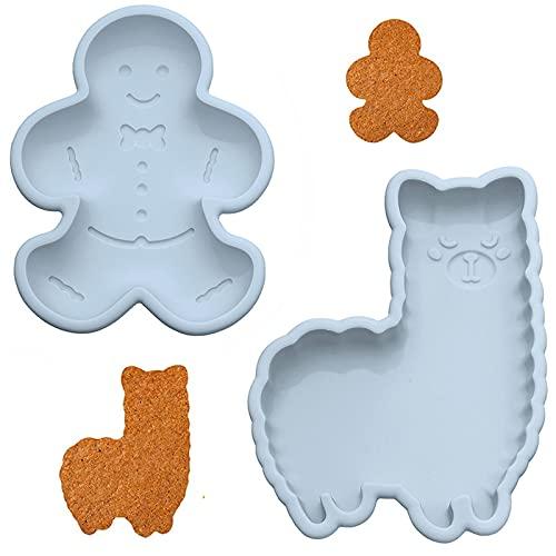 Alpaka Form Silikon Kuchenform Set Tier Süßigkeiten Formen 3D Silikon Backform Lebkuchenmann Form Einfache Cartoon Silikon Kuchenform Für Kuchen Jelly Pudding Keks Muffin Torte Form Backform(2 Stück)