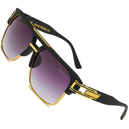 SHEEN KELLY Große Retro Sonnenbrille Square Brille Herren Damen Spiegel Linsen Luxus Eyewear Schwarz Hälfte Rahmen Metall Gold UV400 Oversized