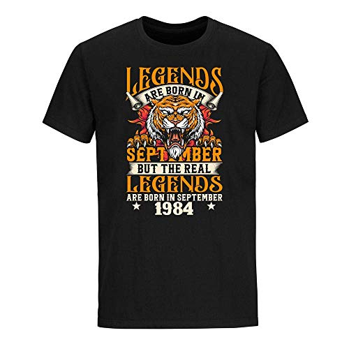Legends are Born in September But The Real Legends are Born in September 1984 Birthday Celebration T-Shirt Graphic Novelty Cotton Tee Short Sleeve for Unisex