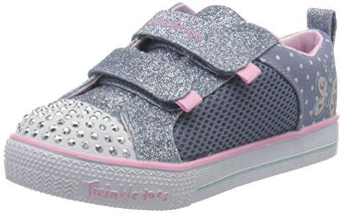 Skechers Mädchen Shuffle Lite Sneaker, Blau (Lt.Blue Textile/Pink Trim Lbpk), 25 EU