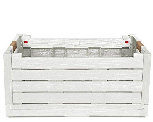 Ondis24 Klappbox Korb für Brennholz Faltbox Feuerholz Kiste Faltbarer Einkaufskorb Florida 50 Liter Kofferraum Organizer Auto (weiß)