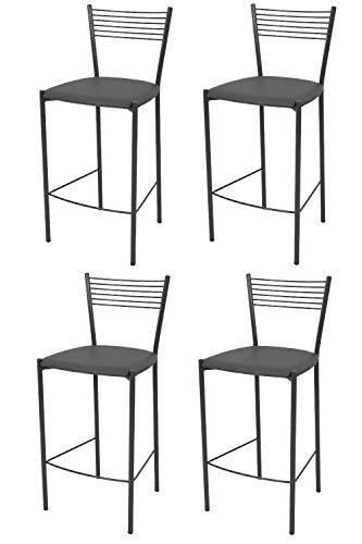 Tommychairs - Set 4 sgabelli alti modello Elegance per cucina e bar, struttura in acciaio verniciata colore grigio scuro e seduta imbottita e rivestita in pelle artificiale colore grigio scuro