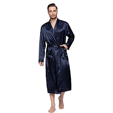 Lavenderi Mens Silky Satin Lounge Robe, Long Lightweight Sleepwear (2XL, Navy)