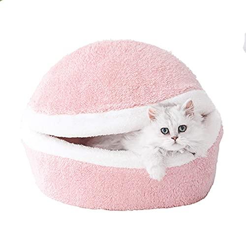 JLKDF Winter Warm Pet Bed Soft Hamburger Shell Pet Sleeping Basket Detachable Washable Semi-Closed Kitten Tent Cave House Cozy Universal Puppy Nest (Pink)
