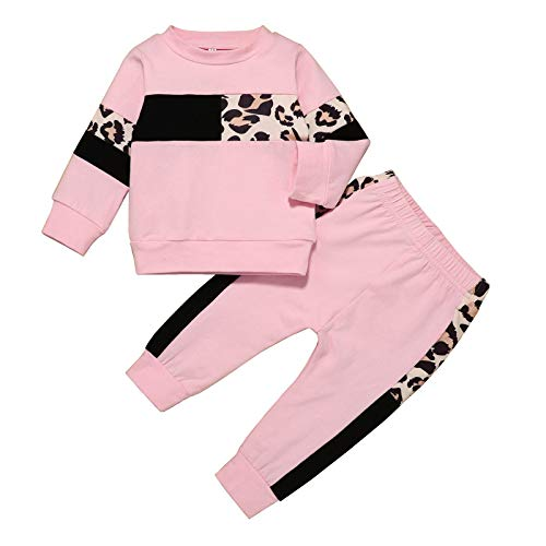 Infant Baby Girl Clothes Cute Sweatshirt Set Rainbow Sweatsuit+Ruffle Sweatpants Fall Winter Outfit Set (Pink 1, 18-24 Months)
