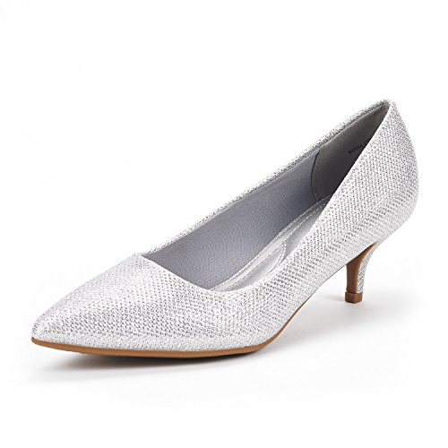 DREAM PAIRS Women's Moda Silver Glitter Low Heel D'Orsay Pointed Toe Pump Shoes Size 10 M US