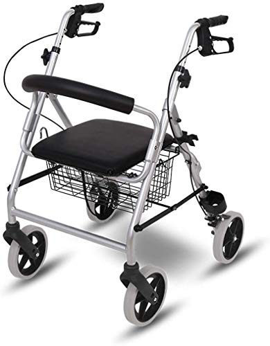 Walker,Rollator Walker with Seat and Wheels, Collapsible Portable Walkers for Seniors, Medical Mobility Walking Aids, Walker with Large Capacity Storage Basket,Gray