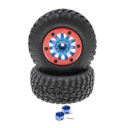 2Pcs 108mm 1/10 Short Course Truck Tires with Wheel Rim&Hex hub for Traxxas 4x4 2WD VXL (Pair)