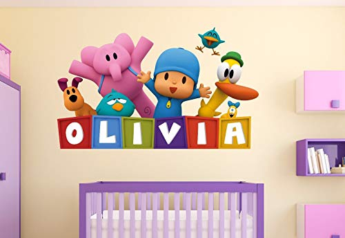 Pocoyo Customize Name 3D Wall Decal Kids Sticker Decor Vinyl Girl/Boy Mural (Large Size: Wide 40' x 30' Height)