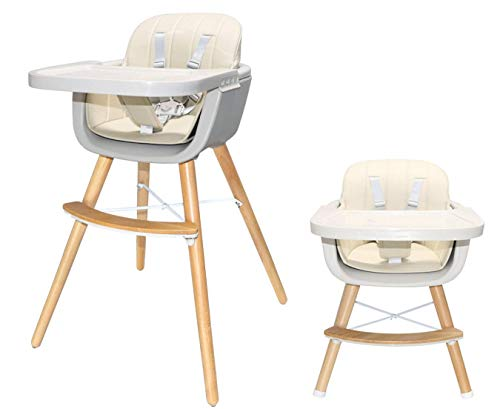 Cheapest Price! Asunflower Baby High Chair 3 in 1 Convertible Wooden Highchair Modern Solution with ...