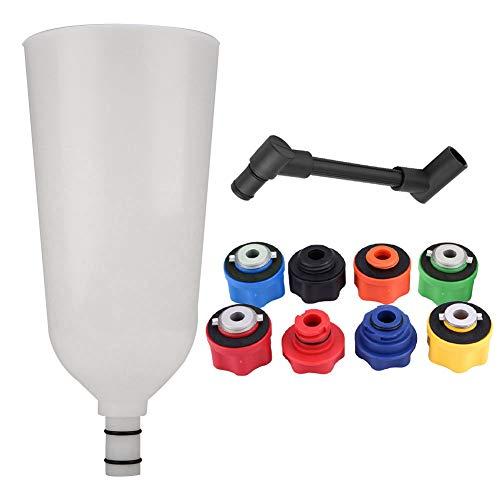 Juego de llenado de adaptador de embudo de aceite de motor de coche de 10 piezas con tubo de extensión de compensación giratoria Plus