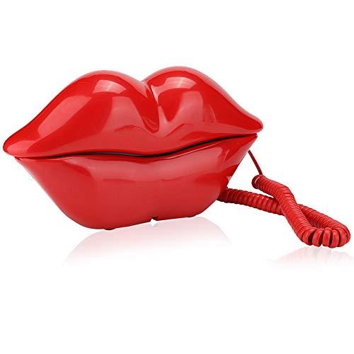 Lindo teléfono Fijo de Escritorio, Teléfono con Forma de Labio Divertido con Sonido Claro para Regalo de Decoración del Hogar para Amigos(Rojo)