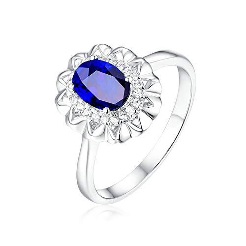 ANAZOZ 18K Oro Blanco Anillo Mujer Azul Anillos de Mujer Flor Oval Zafiro Azul Blanco 0.6ct Talla 15