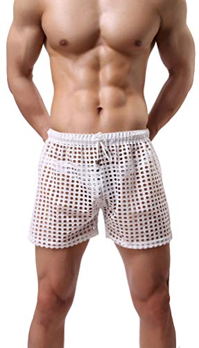 Linemoon Men's Mesh Shorts Sexy Lounge Hollow Boxer Underwear White, Large