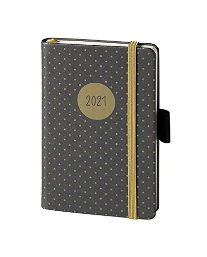 V-book Buchkalender 2021 anthrazit gepunktet Gummiband 1Wo=2S A5