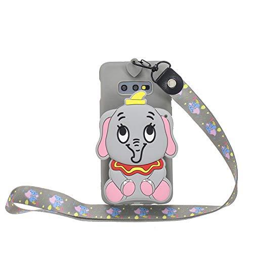 Miagon Silicone Coque pour Samsung Galaxy S10e,3D Mignon Portefeuille Stockage Sac Désign Cover avec Collier Lanyard Sangle Chaîne,Gris l'éléphant