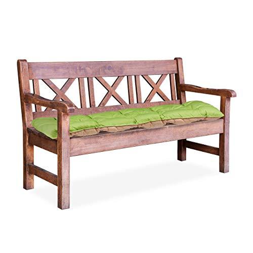 Relaxdays Cojín para Banco de Exterior, Algodón-Poliéster, Verde, 52x118x8 cm