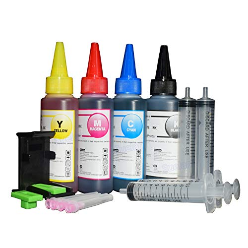 Impresora Kit de recarga de tinta for HP301 HP140 HP141 Cartucho Xl HP300 HP 302 XL HP121 HP122 HP650 HP652 HP651 XL impresora de tinta HP 304 XL 4x100ml (Color : 4 color with tool)