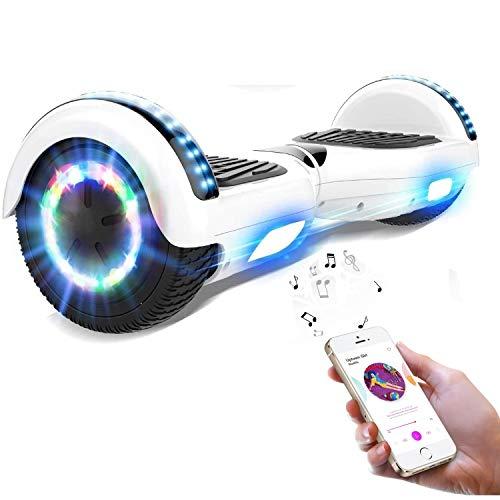 NEOMOTION Hoverboard 6,5 Pollici Motorino Elettrico con Bluetooth LED Flash con Ruote Lampeggianti Giocattolo e Regalo per Bambini