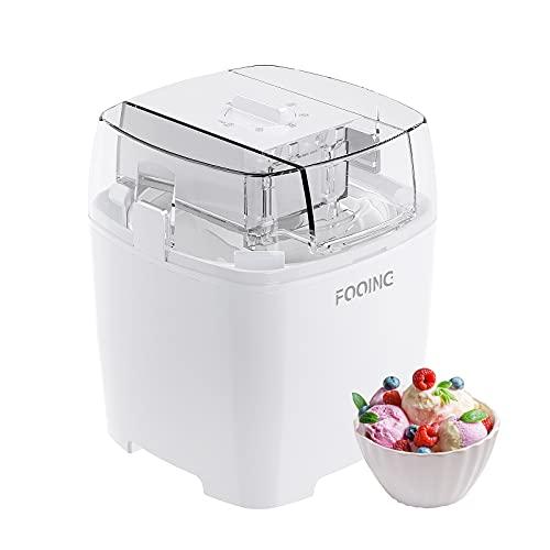 FOOING Fabricante de Helados 1.5L con Botón de Interruptor Giratorio, Máquina de helado de Acero Inoxidable, Adecuado para Sorbete, Yogur Congelado y Helado, incluida la receta y la taza de papel