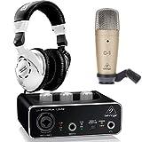Behringer Pack U-Phoria Estudio Interface USB UM2 + Micrófono Estudio C1+ Auriculares Estudio HPS3000